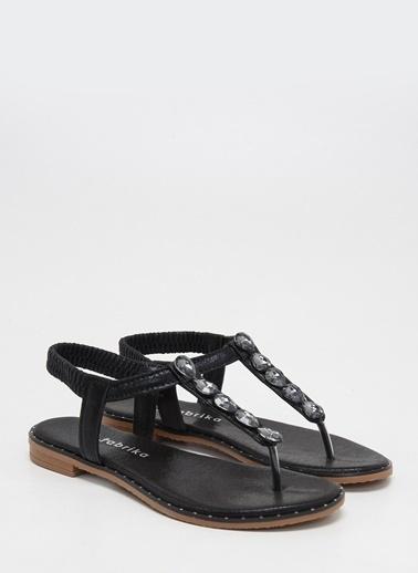 F By Fabrika Kadın Altın Sandalet ANETA Siyah